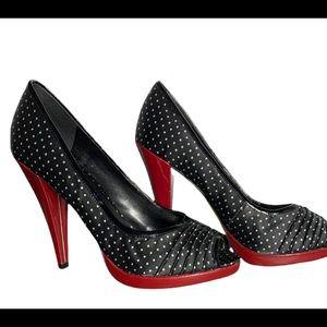 Aldo blAck and white polka dot open toe shoes